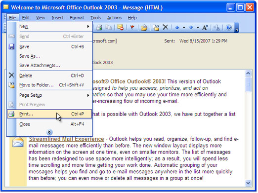 Double-click the email in Outlook inbox to open it and press File-Print... in main menu.