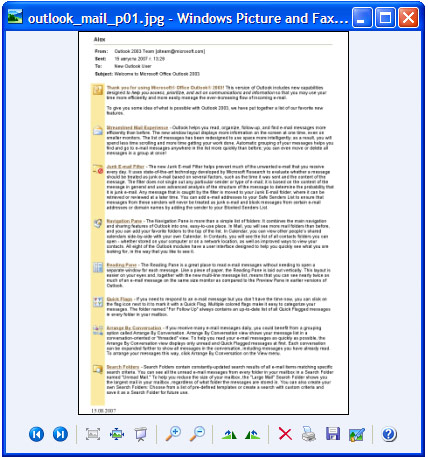 Converted email in Windows Picture and Fax Viewer.