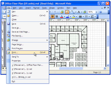 Open the drawing in Microsoft Visio and press File-Print... in application main menu.